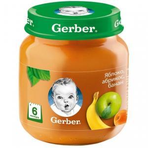 Пюре  яблоко-абрикос-банан с 6 месяцев, 130 г Gerber