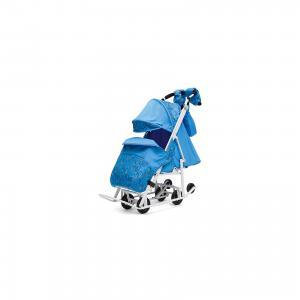 Санки-коляска  Зимняя Сказка 3В Люкс, белая рама, голубой/зоопарк ABC Academy. Цвет: синий