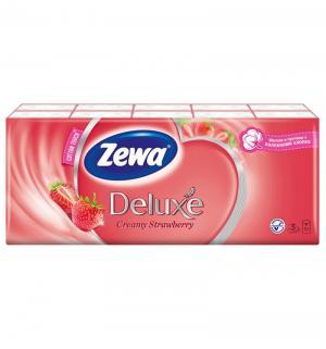 Бумажные платочки 3-х слойные клубника  Deluxe, 10 шт Zewa