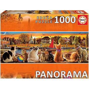 Пазл  панорама Коты на набережной, 1000 деталей Educa
