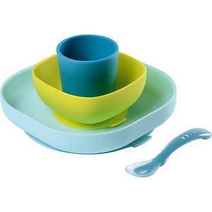 Набор посуды Beaba Silicone Meal Set, голубой BÉABA. Цвет: синий