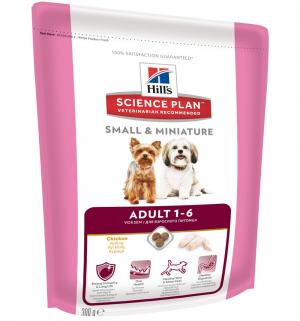 Сухой корм Hills Science Plan Small & Miniature для взрослых собак миниатюрных пород, курица/индейка, 300г Hill's