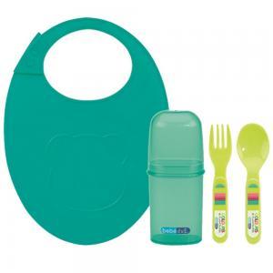 Набор столовых приборов  с силиконовым нагрудником полипропилен, цвет: зеленый Bebe Due