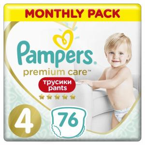 Подгузники-трусики Premium Care 4 р. (9-15 кг) 76 шт. Pampers Care4 76шт.