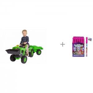 Педальный трактор с прицепом и Enchantimals Мыльные пузыри колба в термоплёнке BIG