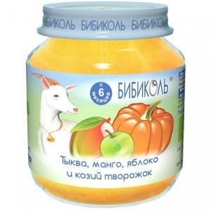 Пюре  в баночке манго/тыква/яблоко и козий творожок с 8 месяцев, 125 г Бибиколь