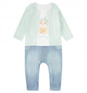 Комбинезон  Fashion Jeans, цвет: белый/салатовый Папитто