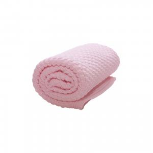 Плед хб вязаный, 70х90, , нежно-розовый Wallaboo