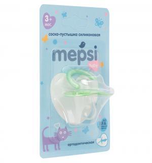 Соска-пустышка  Ортодонтическая силикон, с 3 мес, цвет: зеленый Mepsi