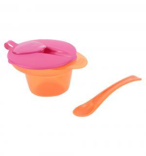 Набор столовых приборов для кормления  Глубокая с крышкой и ложечкой, цвет: оранжевый/розовый Tommee Tippee