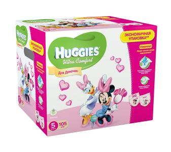 Подгузники Ultra Comfort Disney Box для девочек 5 (12-22 кг) 105 шт. Huggies
