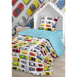 Комплект постельного белья  Машинки, 1,5-спальное Juno. Цвет: разноцветный