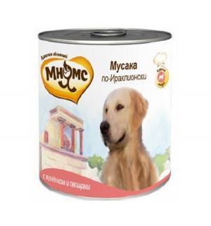 Влажный корм  для взрослых собак, мусака по-ираклионски (ягненок/овощи), 600г Мнямс