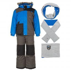 Комплект (куртка, брюки, шарф, манишка) DEUX PAR. Цвет: серый:синий