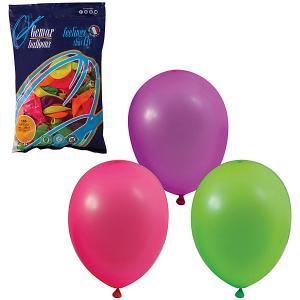 Воздушные шары 10 Веселая затея 100 шт, 25 см (12 цветов неон)