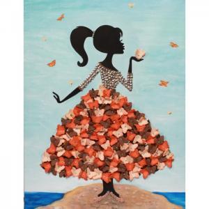 Мозаика из пайеток на холсте Девочка с бабочками МХ-22 Волшебная мастерская