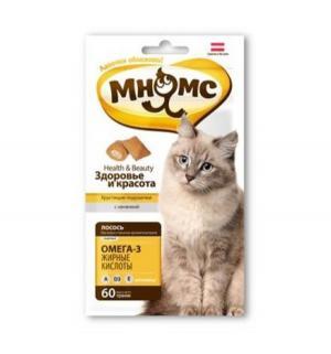 Лакомство  Здоровье и красота для взрослых кошек хрустящие подушечки, лосось, 60 Мнямс