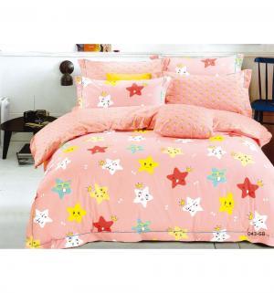 Комплект постельного белья  Звезды, цвет: розовый 3 предмета Cleo