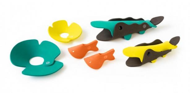 Мягкий 3D конструктор для игры в ванне Река с крокодилами (6 элементов) Quut