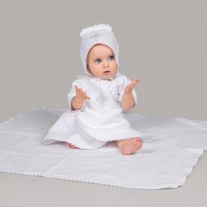 Комплект для крещения 3 предмета ( распашонка, чепчик, пеленка) Pituso