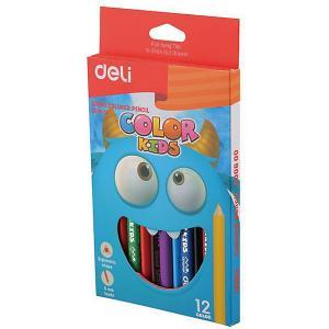 Цветные карандаши  Color Kids Jumbo, трехгранные Deli. Цвет: разноцветный
