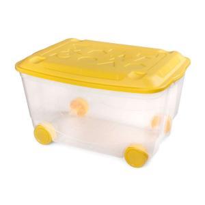 Ящик  универсальный для игрушек на колесах с крышкой штабелируемый Пластишка