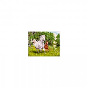 Холст с красками по номерам Лошадь и жеребенок 40х50 см Издательство Рыжий кот