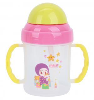 Чашка-непроливайка  с трубочкой, цвет: розовый/ручки желтые Farlin