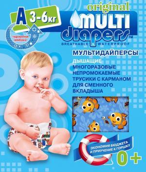 Многоразовые подгузники-трусики  A (3-6 кг) 1 шт. Multi-Diapers