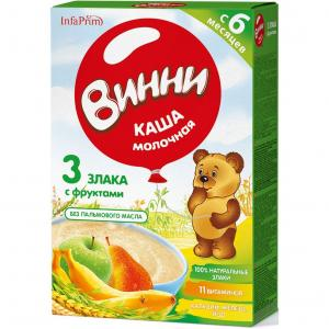 Каша  молочная 3 злака с фруктами 6 месяцев 220 г Винни