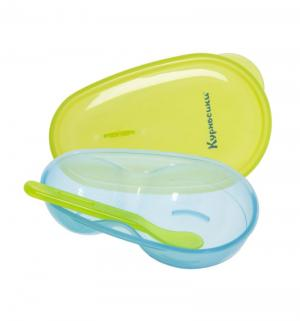 Набор  тарелка двухсекционная и ложка, цвет: зеленый Курносики