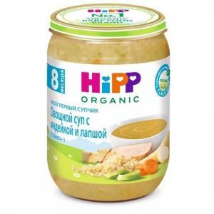 Пюре  Мой первый супчик овощной суп с индейкой и лапшой 8 месяцев, 190 г Hipp