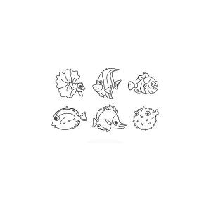 Набор мини-витражей  Морские рыбки, 6 шт Amos