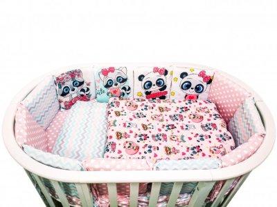 Комплект в кроватку  Малыши девочки подушечки Вид 1 (17 предметов) Сонная сказка