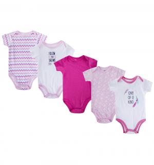 Комплект боди 5 шт , цвет: розовый Hudson Baby