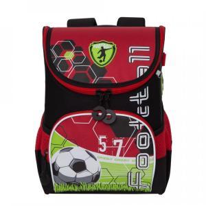 Рюкзак школьный , цвет: черный/красный Grizzly