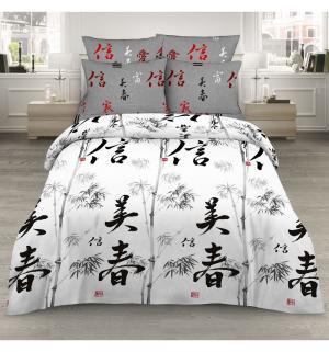 Комплект постельного белья  1.5 спальный/нав. 70х70, цвет: белый/серый Василиса