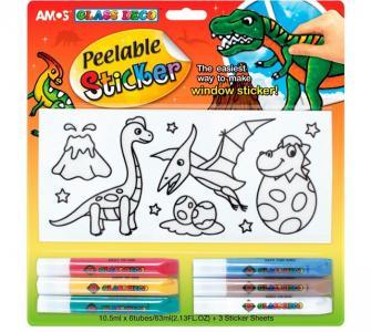 Набор витражных красок с самоклеющимися трафаретами Динозавры 6 цветов Amos
