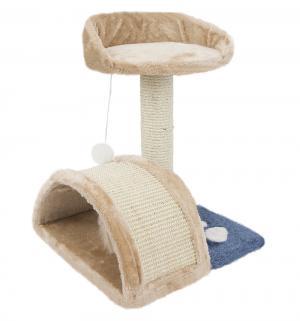 Когтеточка-столбик для кошек  с полочкой и мостиком, цвет: бежевый, 35*35*44см I.P.T.S.