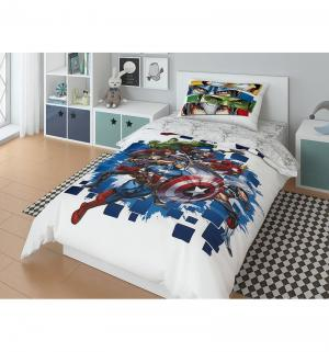 Комплект постельного белья  Marvel Avengers To Battle!, цвет: белый/синий Нордтекс