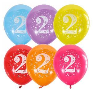 Воздушные шары  Цифра Два 10 шт, пастель + декоратор Latex Occidental. Цвет: разноцветный