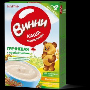 Каша  молочная гречневая с пребиотиками 4 месяцев 200 г Винни
