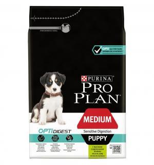 Сухой корм  Optidigest для щенков средних пород с чувствительным пищеварением, ягненок/рис, 3кг Pro Plan
