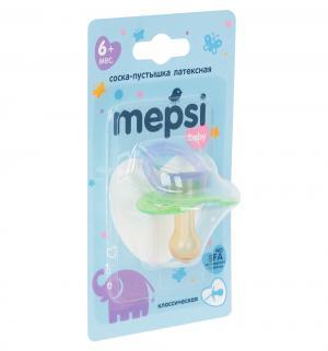 Соска-пустышка  Baby Классическая латекс, с 6 мес, цвет: салатовый Mepsi