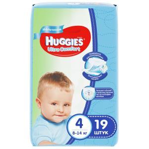 Подгузники  Ultra Comfort 4 для мальчиков (8-14 кг) 19 шт. Huggies